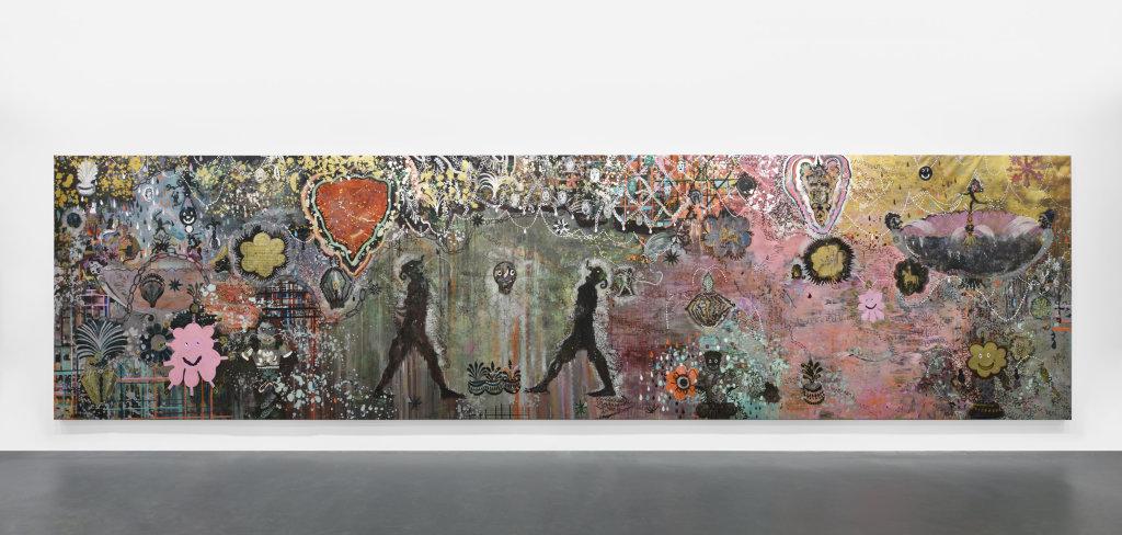 J'adore Barnett Newman, 2017, Pigment, liant acrylique et paillettes sur toile, 970 x 235 cm