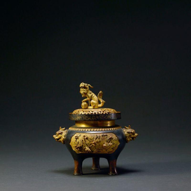 Brûloir à encens ajouré et doré à l'or