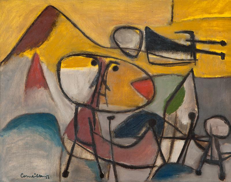 Corneille Le cerf volant, 1950 Huile sur toile, 41 x 47 cm, Collection privée, tous droits réservés.