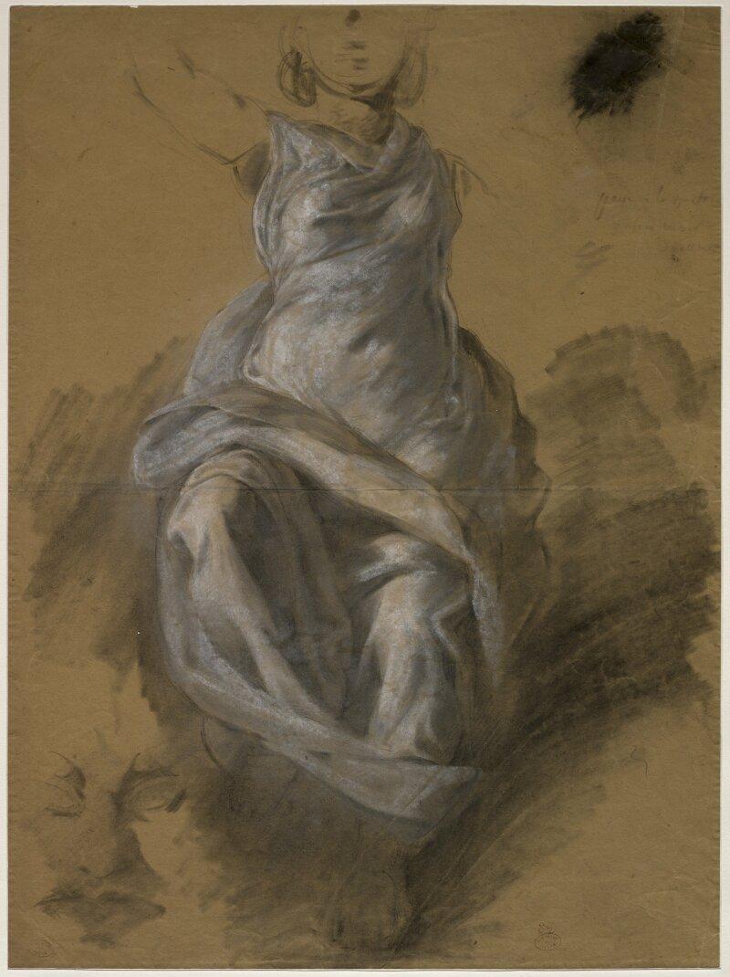 EugèneDelacroix , Étude de draperie pour la Vierge du Sacré-Cœur d'Ajaccio, vers 1820