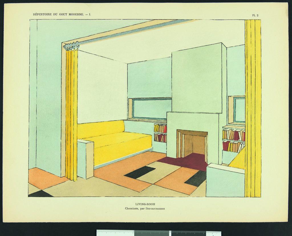 Djo-Bourgeois, Living-room avec cheminée, publié dans Répertoire du goût moderne, vol. 1, Paris