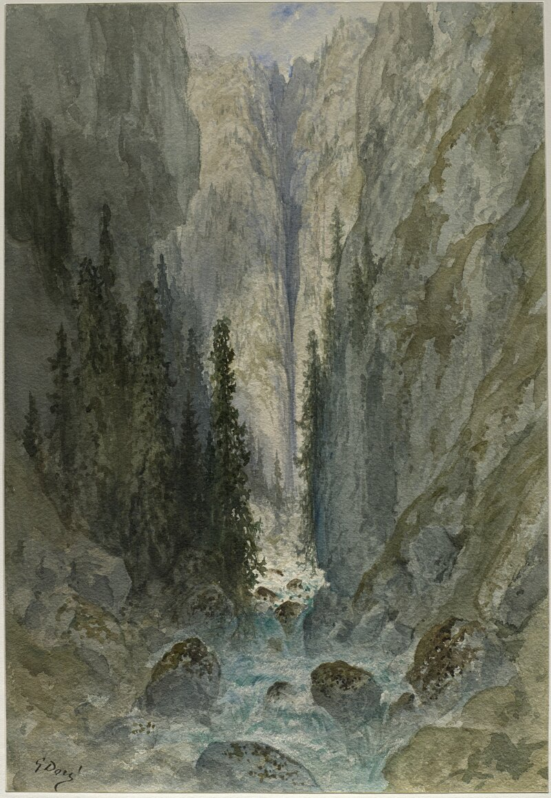 Gustave Doré, Torrent coulant entre les rochers, 1882