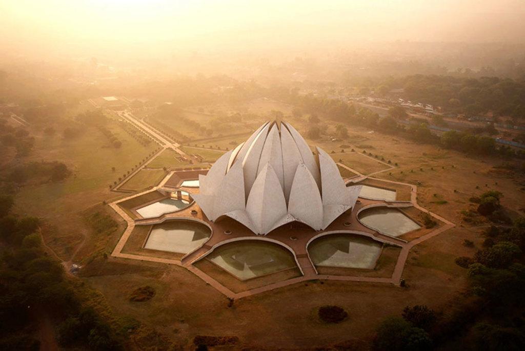 Drone-Delhi-Temple-Lotus