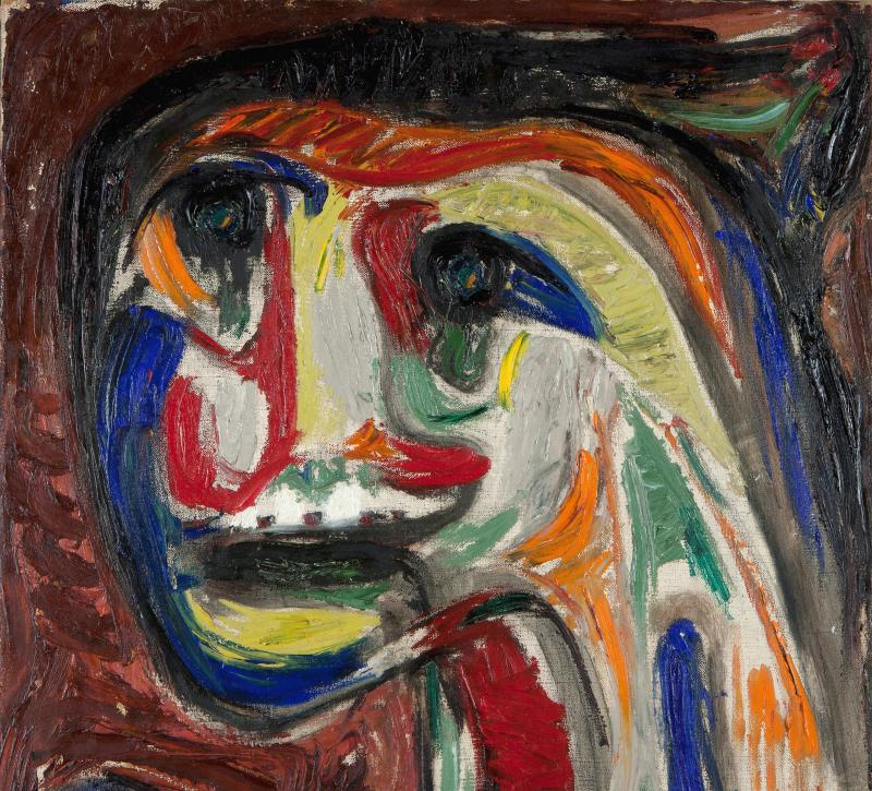Asger Jorn Mads, 1953 Huile sur toile, 77 x 70 cm, Collection privée, tous droits réservés.