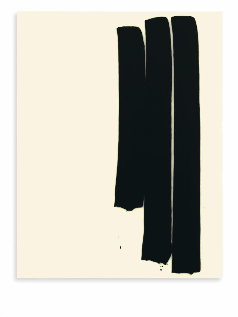Lee Bae, Untitled, acyrlic medium, charcoal black on canvas, 2017, 260 x 194cm