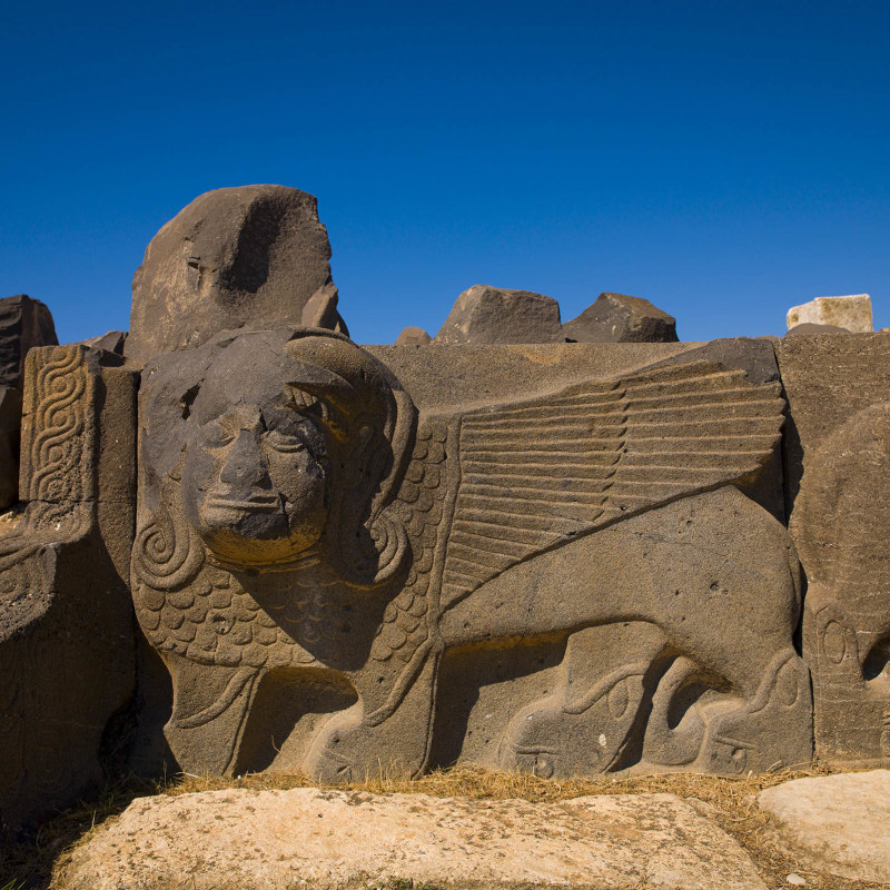 HAMA, SYRIA - APRIL 21: massive basalt hittite lion carving, syria on April 21, 2012 in Hama, Syria