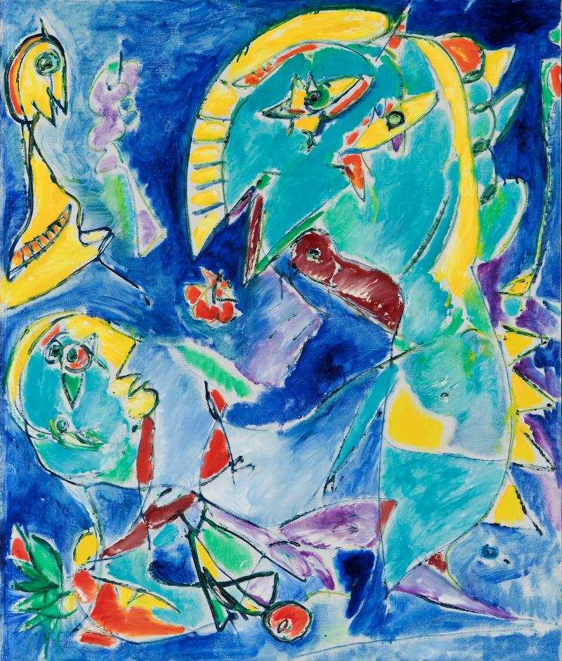 Carl-Henning Pedersen Ask the bird, 1992/1993 Huile sur toile, 124 x 104 cm, Collection privée, tous droits réservés.