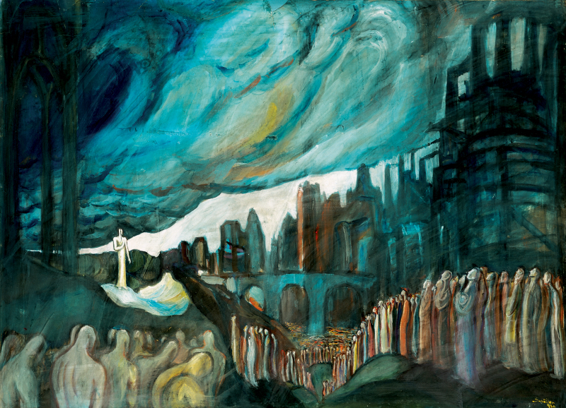 Rétrospective de Nicolas Schöffer au LaM 2018 - Nicolas Schöffer, Le Prophète, 1932. Tempera sur papier. Courtesy Janos Haas - Haas Gallery, Budapest. Photo : Haas Gallery, Budapest. © Adagp - Éléonore de Lavandeyra-Schöffer, 2017