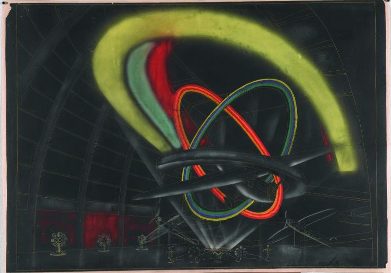 Robert Delaunay, Felix Aublet, Etude de mise en lumière, vue nocturne, pour le pavillon de l'Aéronautique