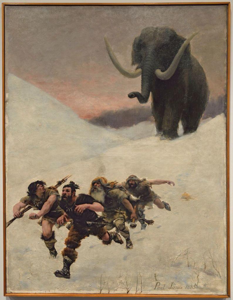 « La fuite devant le mammouth », huile sur toile de Paul Jamin, 1885