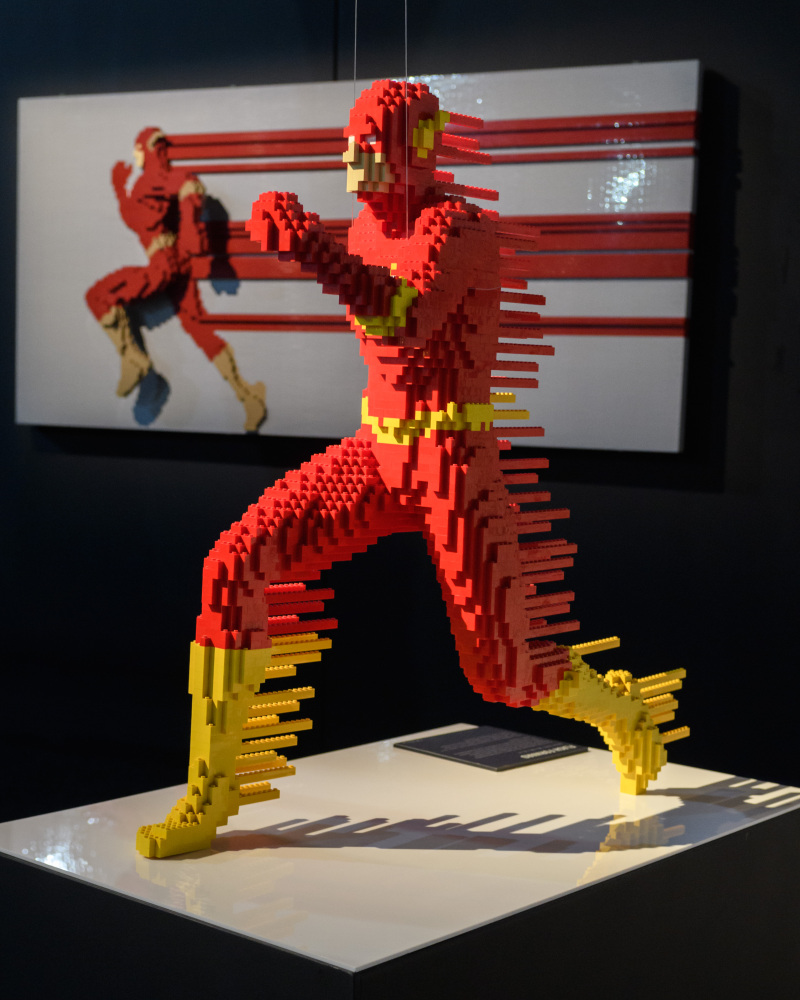 THE ART OF THE BRICK: DC SUPER HEROES - Artist Nathan Sawaya returns to London with the world's largest LEGO exhibition, inspired by Batman, Superman, and Wonder Woman. The exhibition opens, in a purpose-built marquee in Doon Street car park, Upper Ground, on the South Bank. Picture shows: The Flash - 'Flash Forward' (foreground) and 'Streak' (background)