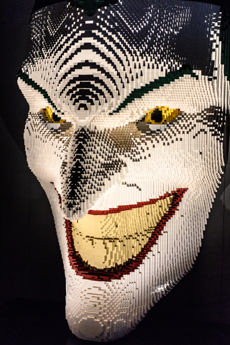 THE ART OF THE BRICK: DC SUPER HEROES - Artist Nathan Sawaya returns to London with the world's largest LEGO exhibition, inspired by Batman, Superman, and Wonder Woman. The exhibition opens, in a purpose-built marquee in Doon Street car park, Upper Ground, on the South Bank. Picture shows: The Joker Facemask.