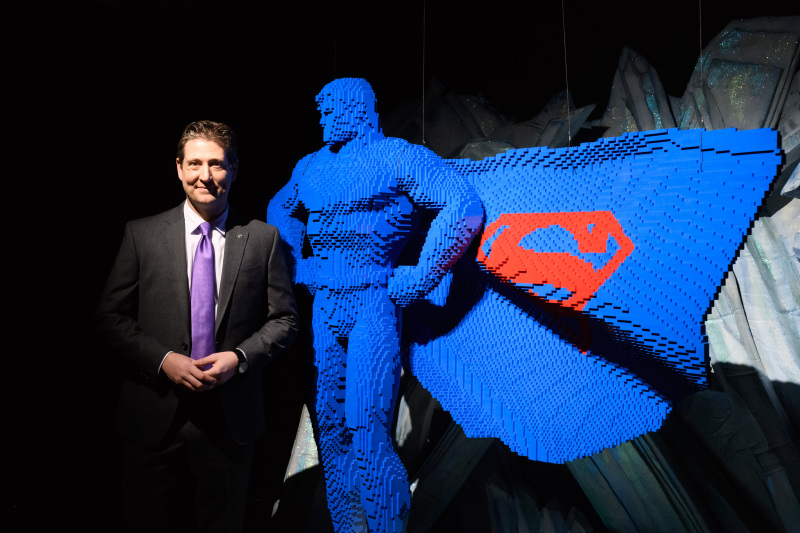 THE ART OF THE BRICK: DC SUPER HEROES - Artist Nathan Sawaya returns to London with the world's largest LEGO exhibition, inspired by Batman, Superman, and Wonder Woman. The exhibition opens, in a purpose-built marquee in Doon Street car park, Upper Ground, on the South Bank. Picture shows: Nathan Sawaya & Superman
