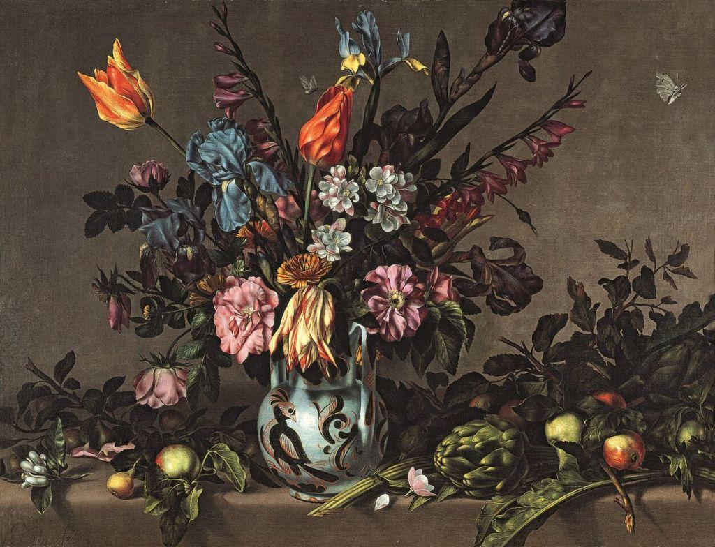 Antonio Ponce, Still Life with Artichokes and a Talavera Vase of Flowers Bodegón con alcachofas y jarrón de Talavera con flores Ca. 1650-1660 Oil on canvas, 72 x 94 cm © Collection Albello