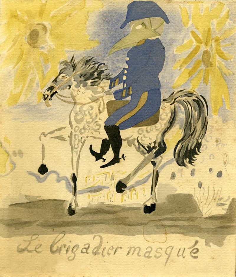 Autoportrait, le brigadier masqué peint à l'aquarelle par Apollinaire sur le front. Galerie Pierre Saunier