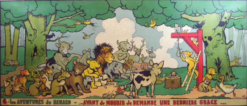 Benjamin Rabier. Les aventures de Renard. Six panneaux lithographiés à l'usage des écoles 1935 LIBRAIRIE GAELLE CAMBON