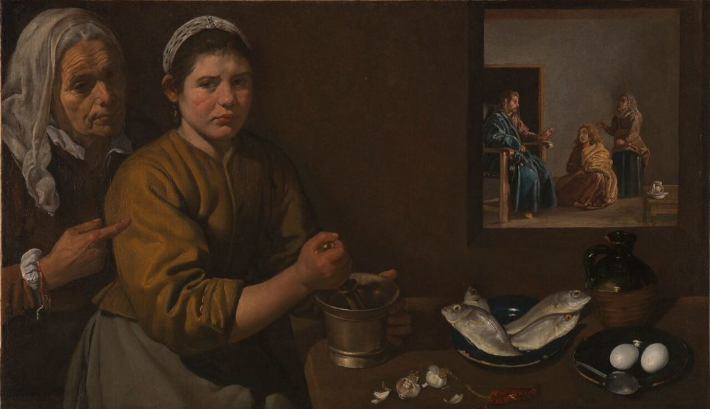 Diego Velázquez, Christ in the House of Martha and Mary Cristo en casa de Marta y María Ca. 1618 Oil on canvas, 60 x 103.5 cm © National Gallery, London