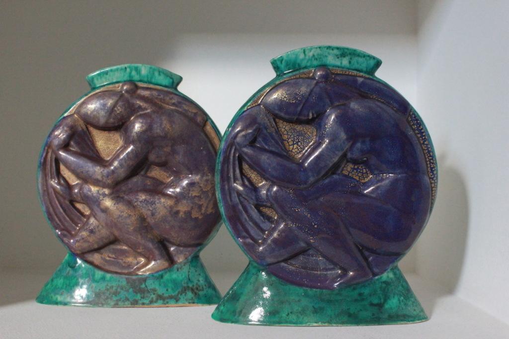 Edouard Cazaux, paire de vases gourde, Emmanuel de la Iglesia, expert en céramique Art nouveau