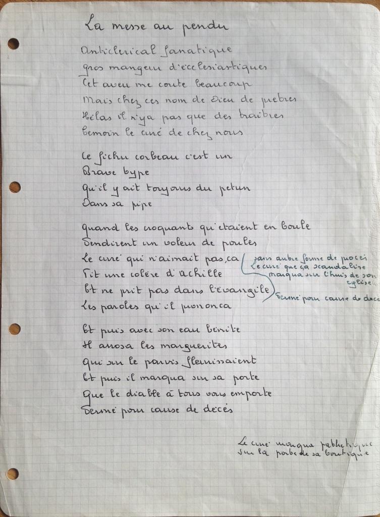 Georges Brassens Chanson Manuscrite, La Messe au Pendu, issue de son dernier album Æ Trompe la mortØ dÇcembre 1976 galerie Manuscripta