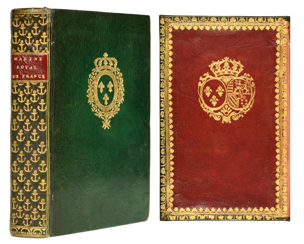 Guillaume Poncet de la Grave. Précis historique de la Marine Royale de France, Paris, 1776 aux armes de Louis XVI et Marie Antoinette Shapero Rare Books