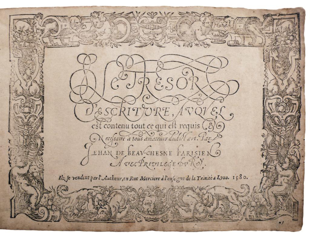 Jean de Beauchesne Le Trésor d'escriture ....1580 LIBRAIRIE PAUL JAMMES