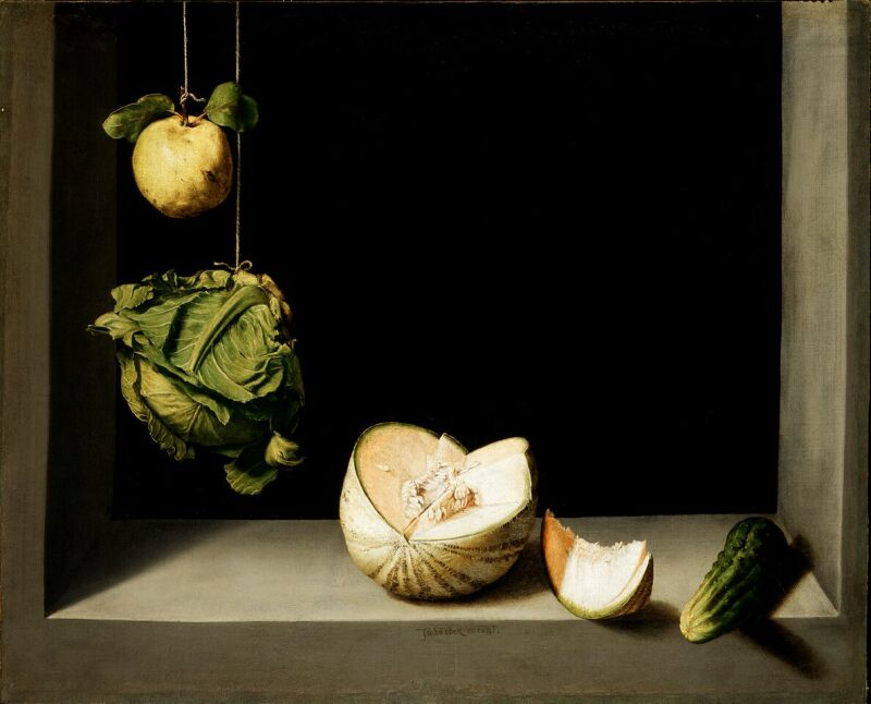Juan Sánchez Cotán, Quince, Cabbage, Melon and Cucumber Ca. 1602 San Diego, gift of Anne R. and Amy Putnam © The San Diego Museum of Art
