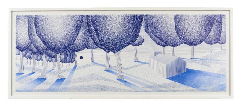 LAIB BITTON Charles- Malcomportement dans la Prairie- 2012 - 152 x 55.5 cm - stylo bille sur papier- (c)Charly Gosp- Courtesy l artiste et Collection BIC
