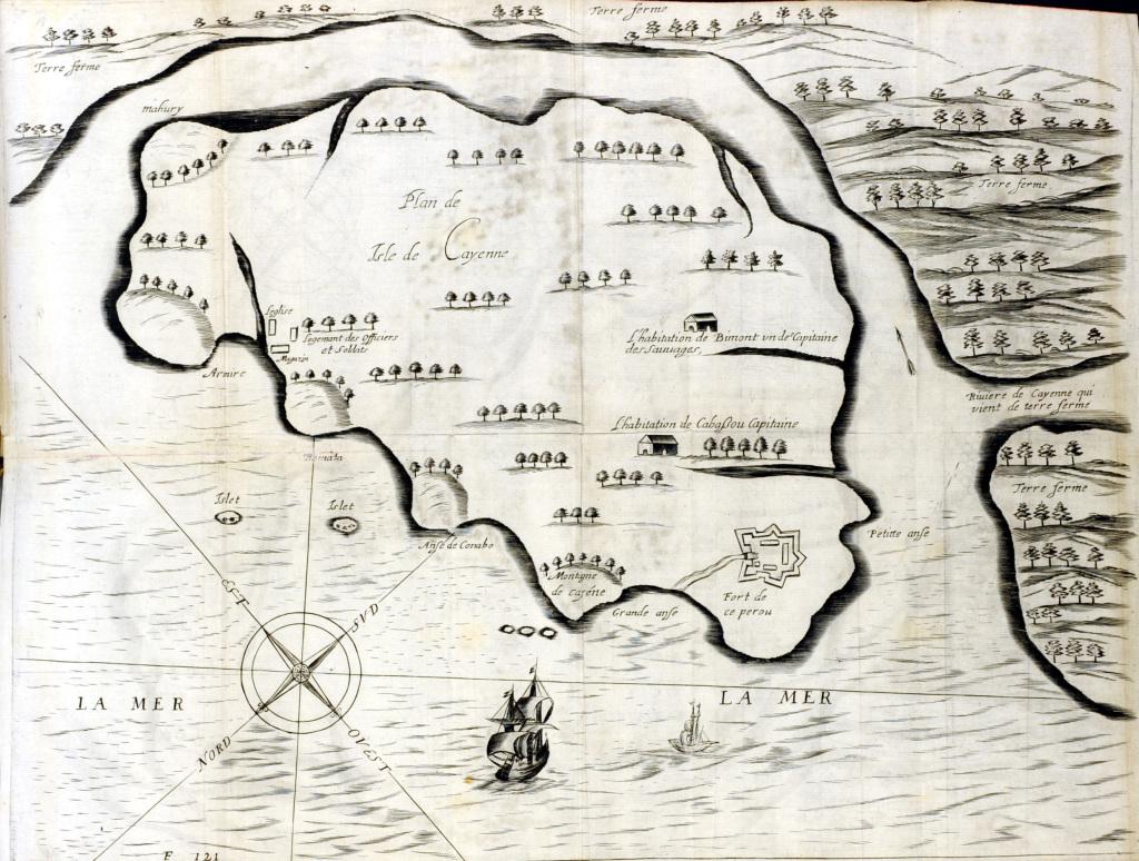 Laon Daigremont Carte de Cayenne 1654 LIBRAIRIE JEAN POLAK