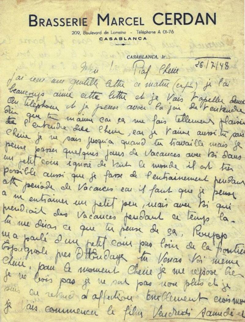 Lettre autographe signée de Marcel Cerdan à Edith Piaf, 26 juillet 1948 Librairie Passé Présent