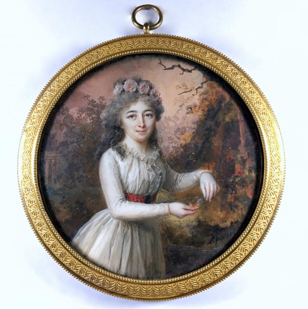 Louis-Lié Perin Salbreux (1753-1817) Aquarelle et gouache sur ivoire vers 1790. Thierry Jaegy expert en portraits miniature portraits historiques et tabatières