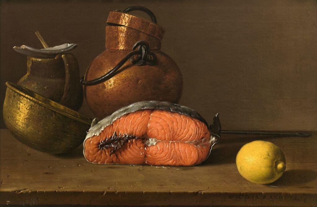 Luis Egidio Meléndez, Still Life with Salmon, Lemon and Three Vessels Bodegón con salmón, limón y recipients 1772 Oil on canvas, 41 x 62,2 cm © Museo Nacional del Prado