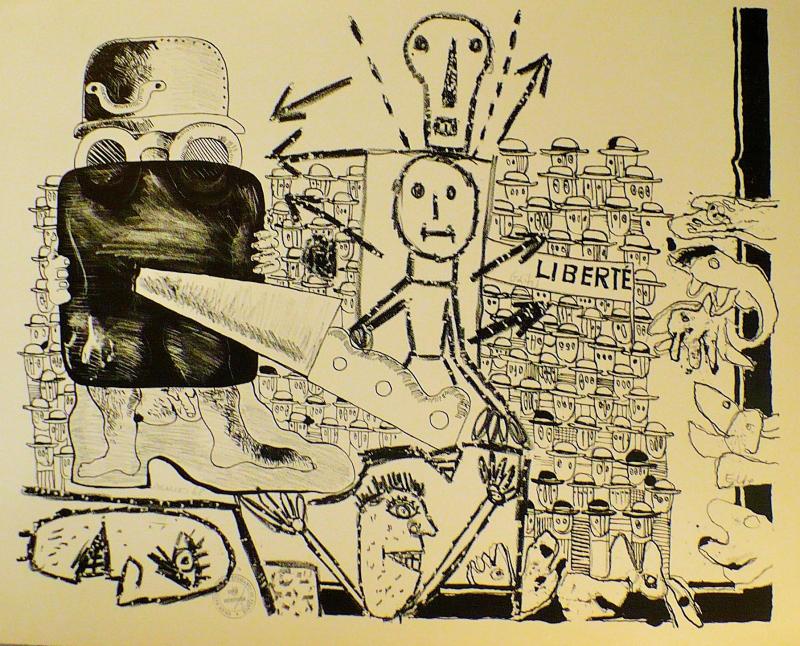 MAI 68 Collectif Liberté Lithographie en noir sur papier Aches Librairie Seksik