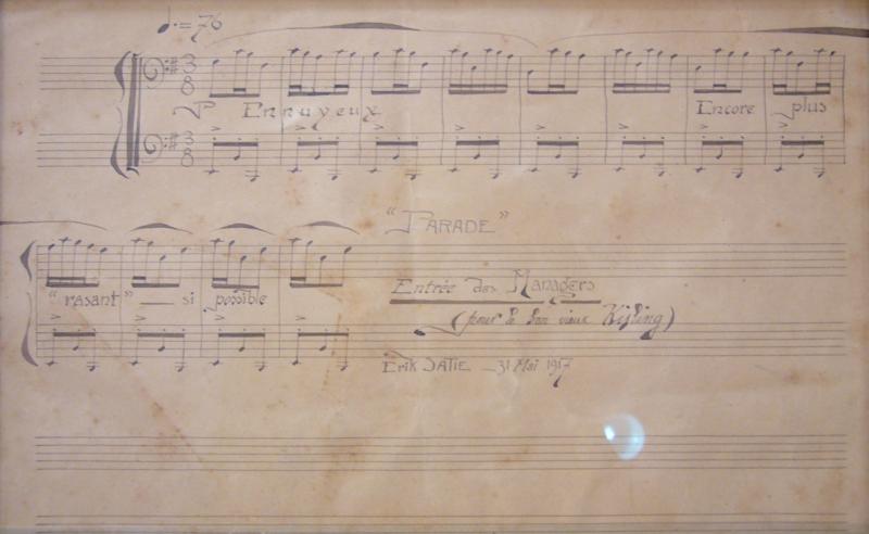 Manuscrit musical autographe d'Erik Satie -Extrait de la parade, authographié par Satie pour le bon vieux Kisling, 31 mai 1917Librairie François Roulmann