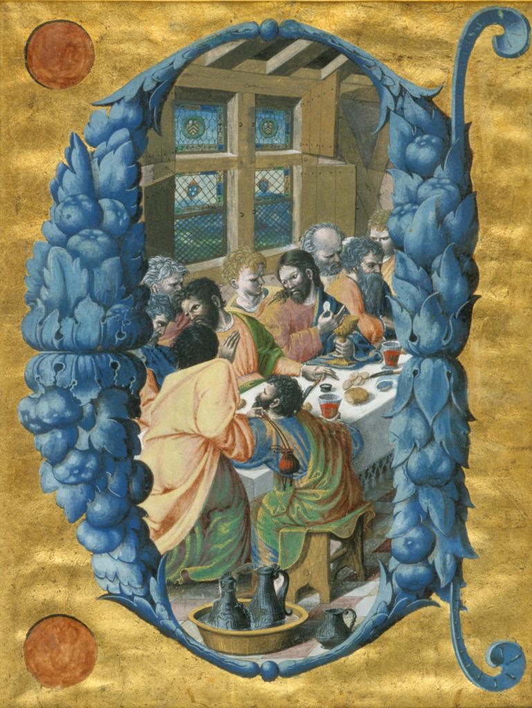 Mirepoix Cène, Antiphonaire de Philippe de Lévis, La Cène lettre C. 1533-1535. Toulouse, Musée des Augustins