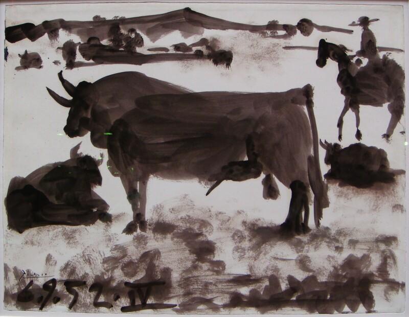 Picasso, Pablo . Taureau au pacage 1952. lavis d'encre sur papier signé et daté 6.9.52 50,5x66 cm Olivier Houg, expert en tableaux modernes