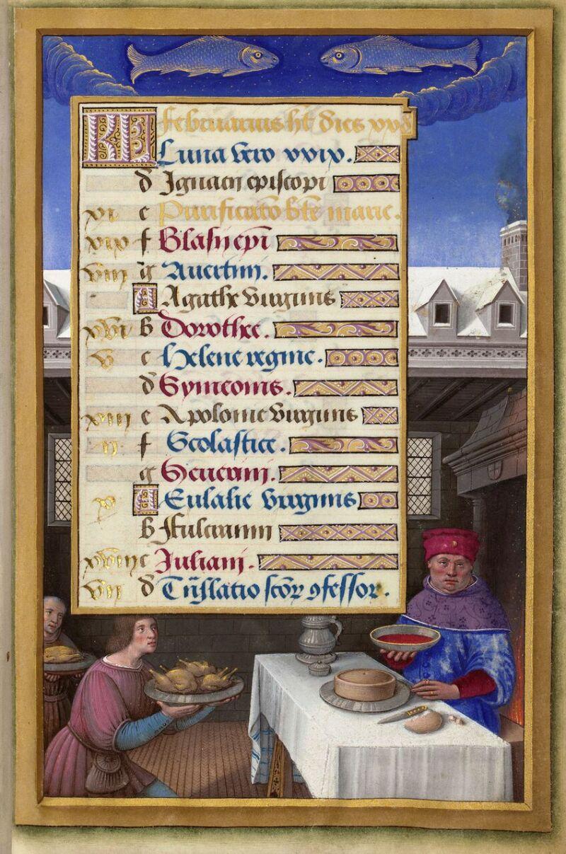 Repas arrosé de vin rouge en février, Grandes heures d'Anne de Bretagne, vers 1505, ©BnF, Paris