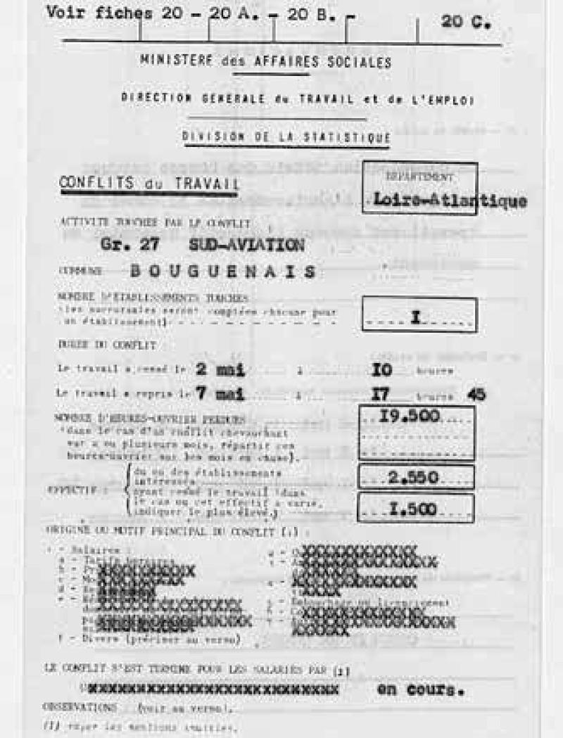 Fiches de « conflits du travail » de la direction du Travail relatives à l'usine de Sud-Aviation (Bouguenais, près de Nantes), 2-14 mai 1968.