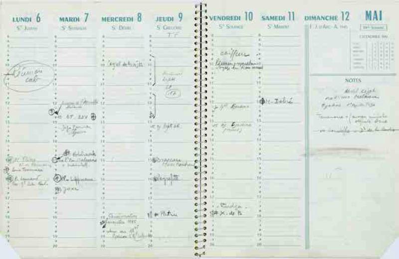 Agenda du Général de Gaulle pour la semaine du 6 au 12 mai 1968.