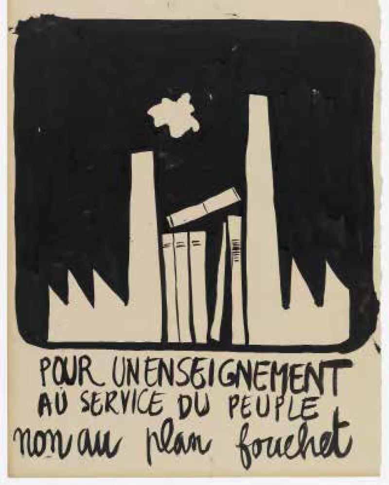 Affiche appelant à la mobilisation contre la réforme de l'uni-versité (66 x 50 cm).