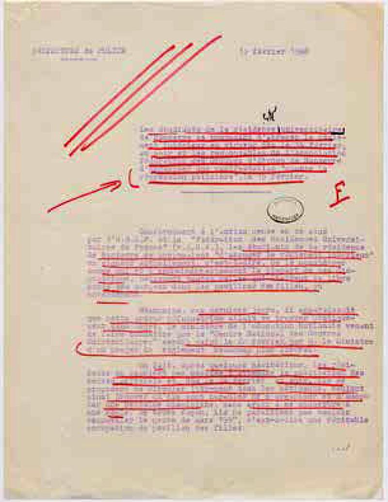 Note de la préfecture de police de Paris annotée par la Direction centrale des Renseignements généraux du ministère de l'Intérieur sur l'agitation grandissante des étudiants de Nanterre, 13 février 1968.