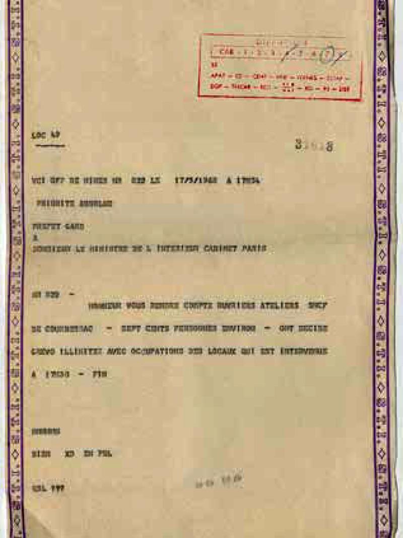 Télégramme du préfet du Gard en priorité absolue rendant compte du débrayage des ateliers SNCF de Courbessac, 17 mai 1968.