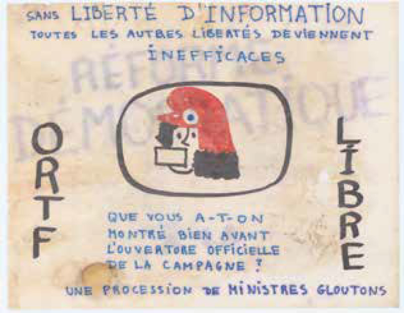 « ORTF libre » affiche appelant à la liberté de l'information ORTF, non datées.