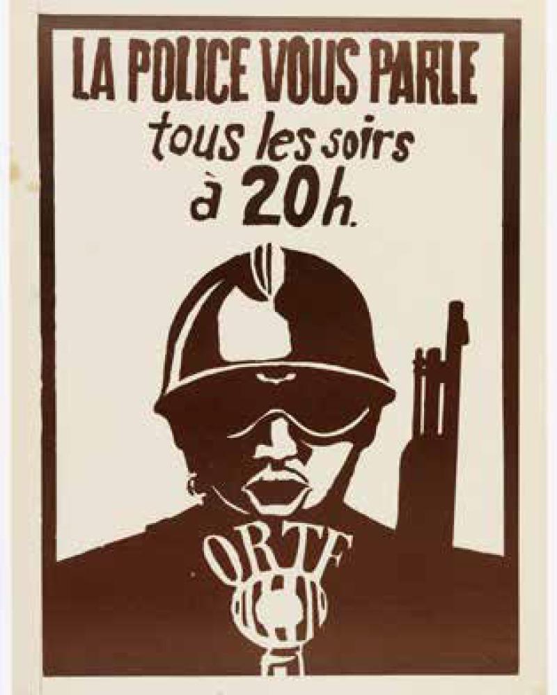 « La police vous parle tous les soirs à 20h », affiche de l'atelier populaire de l'ex-École supérieure des Beaux-Arts sur l'ORTF, 1968.