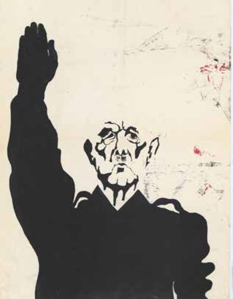 Archives de la Cour de sûreté de l'État : affiche représentant le général de Gaulle, bras levé, saisie.