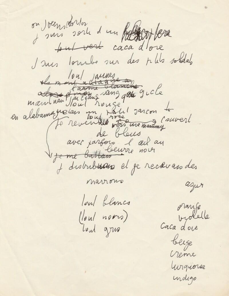 Serge Gainsbourg rare manuscrit de travail galerie Manuscripta