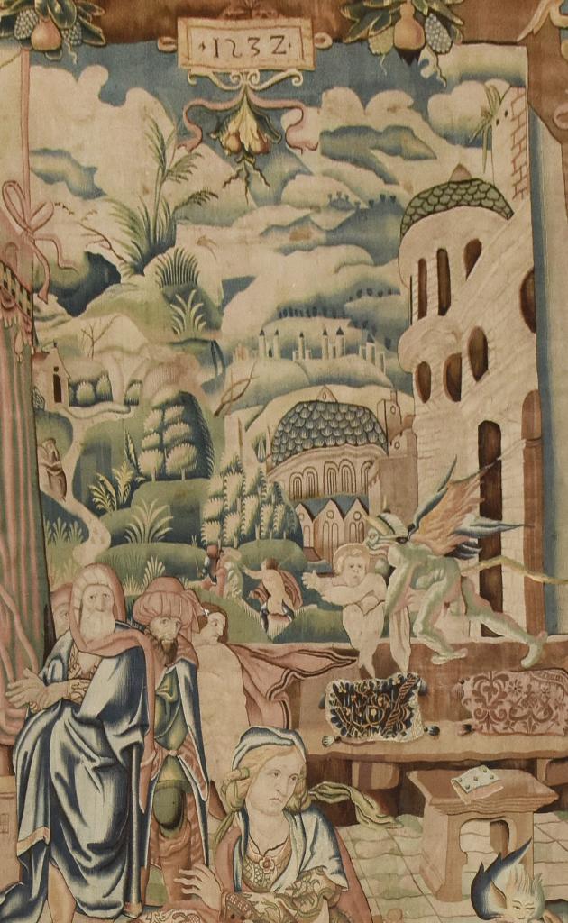 Tapisserie de la Cathédrale de Saint-Etienne, naissance de saint Etienne, détail