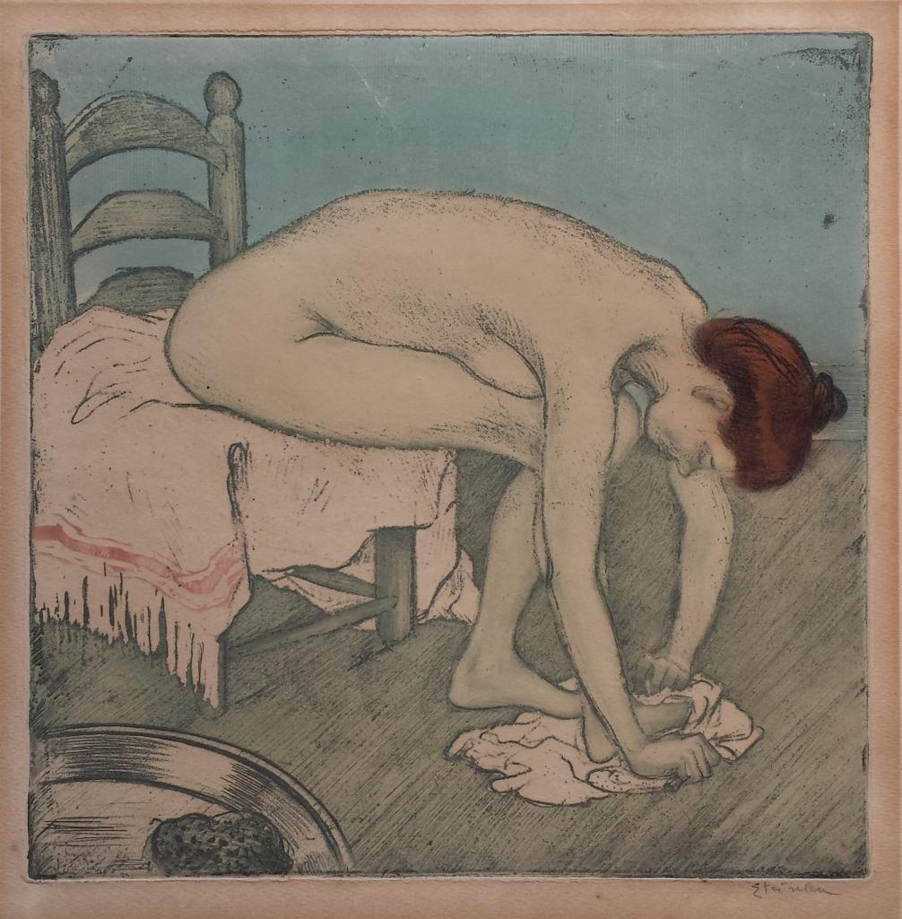 Théophile-Alexandre Steinlen, Femme nue assise, s'essuyant les pieds 1902, eau forte, vernis mou, aquatinte sur zinc sarah sauvin