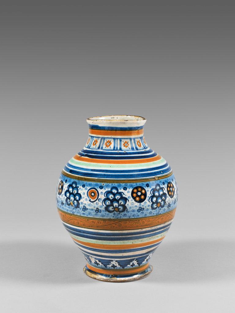 Vase pansu en faience polychrome à décor de palmettes persanes fin XVème siècle Pierre Richard Royer expert en Haute Epoque