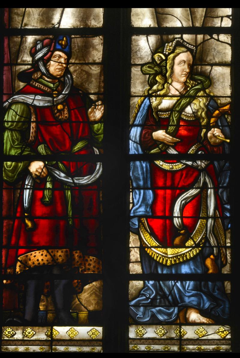 Vitrail Auch, détail de la baie centrale (baie 6), 1509-1513, chapelle Saint-Louis, avant restauration, cathédrale Sainte-Marie, Auch.