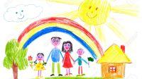 41627824-famille-heureuse-sur-prairie-pr-s-dessin-enfant-la-maison-Banque-du0027images